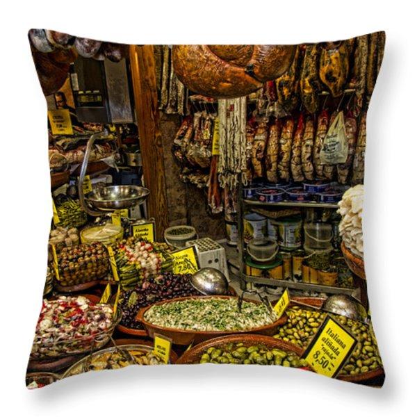 Deli in Palma de Mallorca Spain Throw Pillow by David Smith