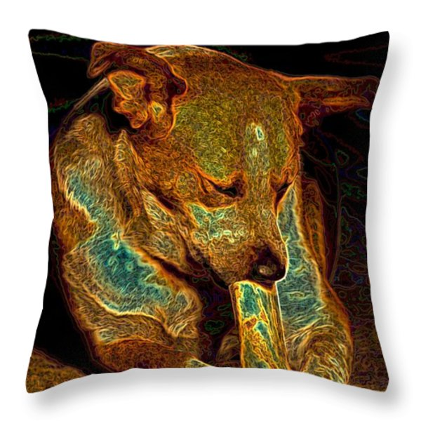 Delicious Bone Throw Pillow by One Rude Dawg Orcutt