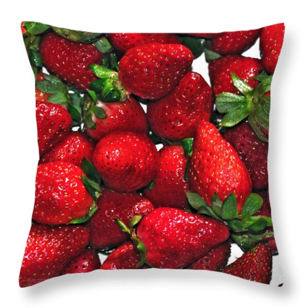 Deliciously Sweet Strawberries Throw Pillow by Kaye Menner