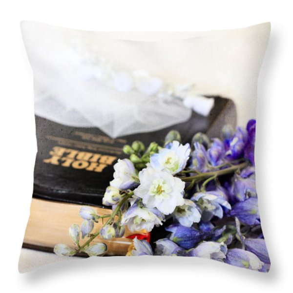 Delphiniums And Bible Throw Pillow by Stephanie Frey