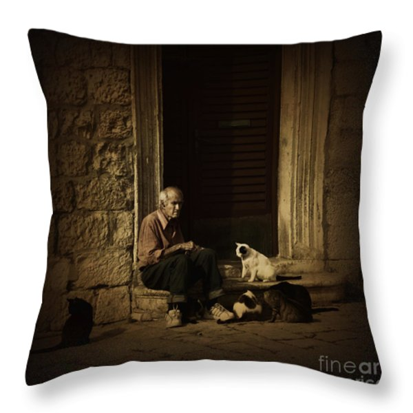 Dementia Throw Pillow by Andrew Paranavitana