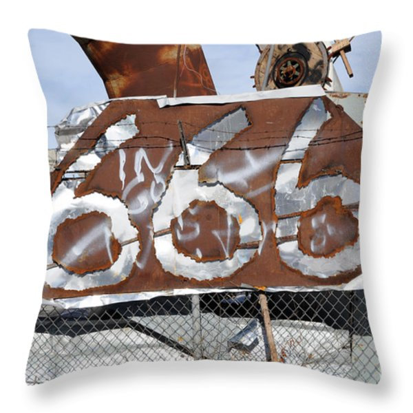 Demonic Humor at Industrial Site Haunted House Throw Pillow by Gary Whitton