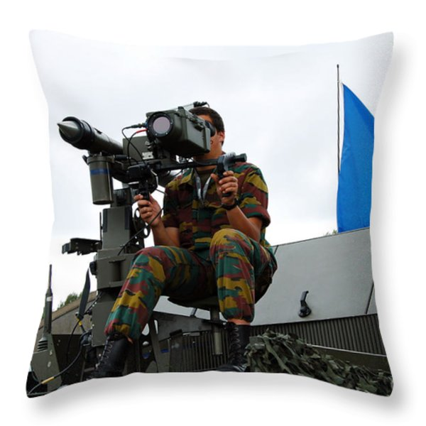 Demonstration Of The Mistral Surface Throw Pillow by Luc De Jaeger