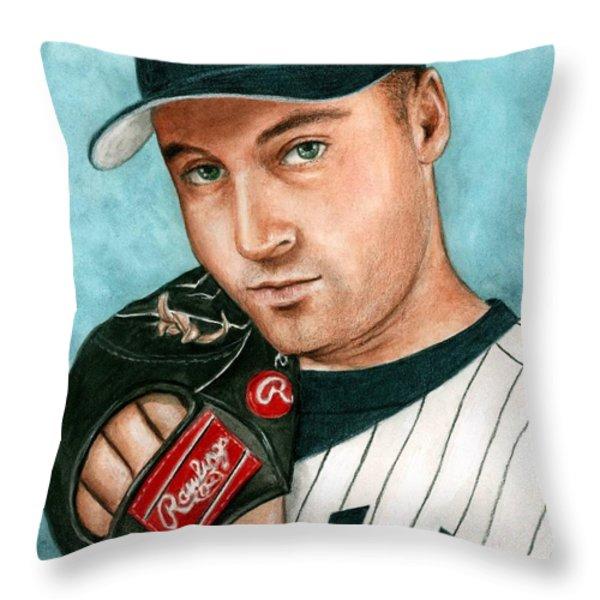 Derek Jeter Throw Pillow by Bruce Lennon