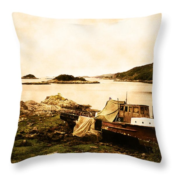 Derelict Boat In Outer Hebrides Throw Pillow by Jasna Buncic