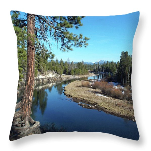 Deschutes River Throw Pillow by Bonnie Bruno