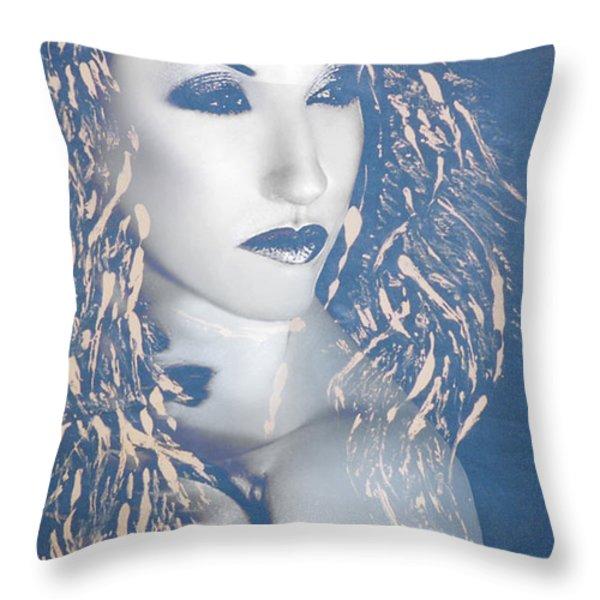 Desdemona Blue - Self Portrait Throw Pillow by Jaeda DeWalt