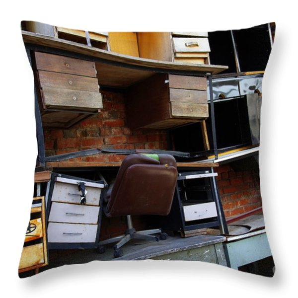 Desk Scrap Throw Pillow by Carlos Caetano