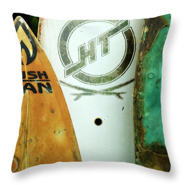 Detail Surfboard Fence Throw Pillow by Bob Christopher