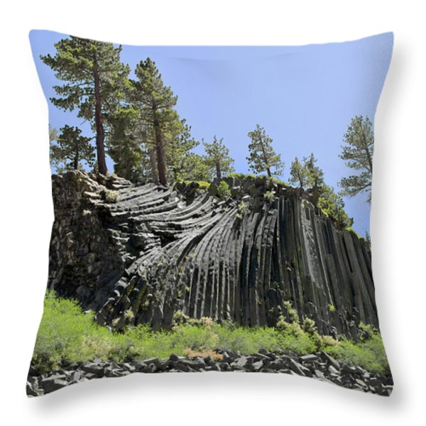 Devil's Postpile - Talk about natural wonders Throw Pillow by Christine Till