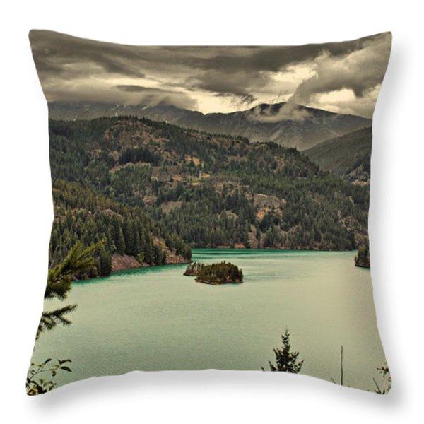 Diablo Lake - Le grand seigneur of North Cascades National Park WA USA Throw Pillow by Christine Till