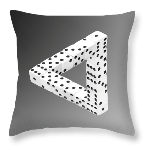 Dice Illusion Throw Pillow by Shane Bechler