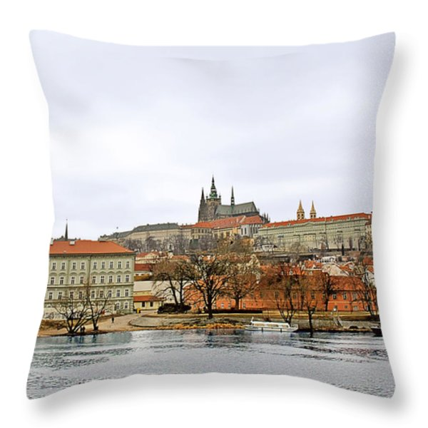 Die Moldau - Prague Throw Pillow by Christine Till