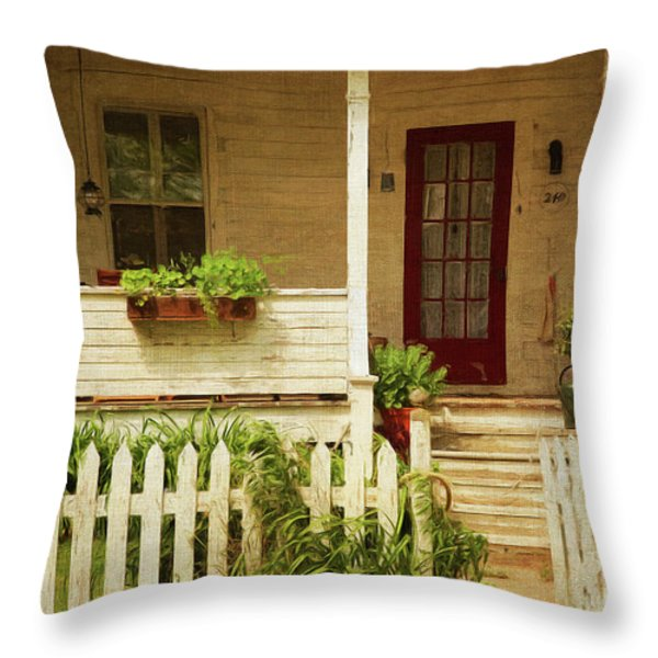 Digital Painting Of Front Porch Rural Farmhouse Throw Pillow by Sandra Cunningham