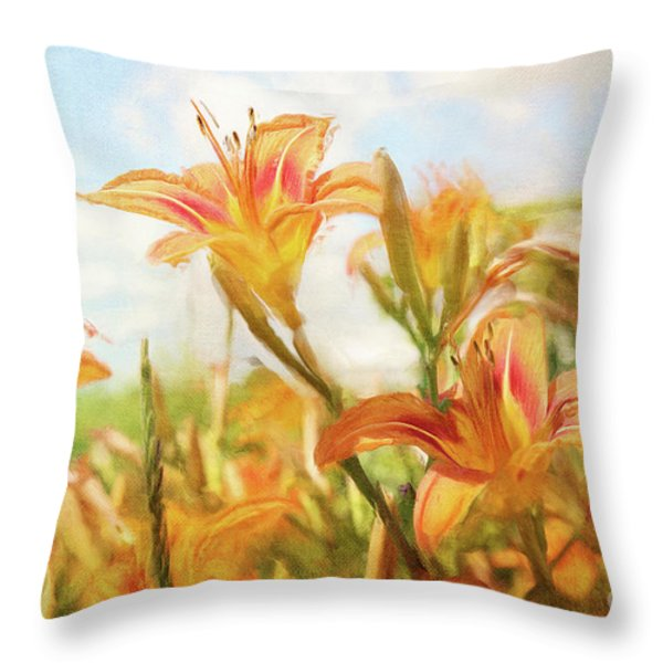 Digital painting of orange daylilies Throw Pillow by Sandra Cunningham