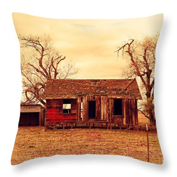 Dilapidated Old Farm House . 7D10341 Throw Pillow by Wingsdomain Art and Photography