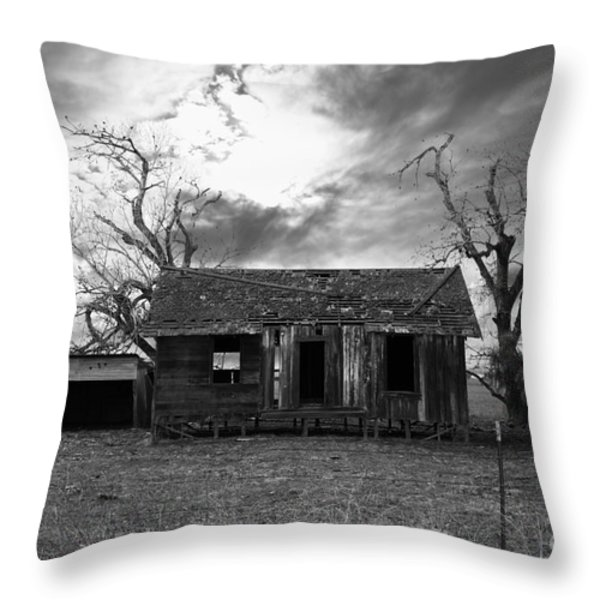 Dilapidated Old Farm House . 7d10341 . Black And White Throw Pillow by Wingsdomain Art and Photography