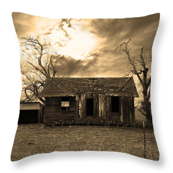 Dilapidated Old Farm House . 7D10341 . sepia Throw Pillow by Wingsdomain Art and Photography
