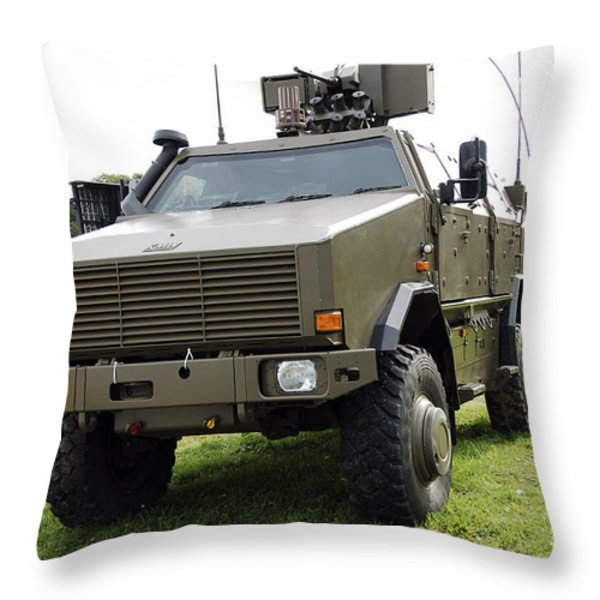 Dingo II Vehicle Of The Belgian Army Throw Pillow by Luc De Jaeger