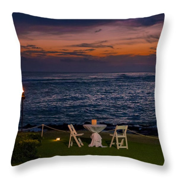 Dinner Setting In Paradise Throw Pillow by Darcy Michaelchuk