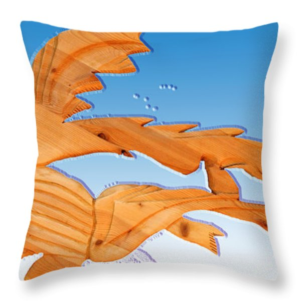 Dinosaur Fish With Bubbles Throw Pillow by Robert Margetts