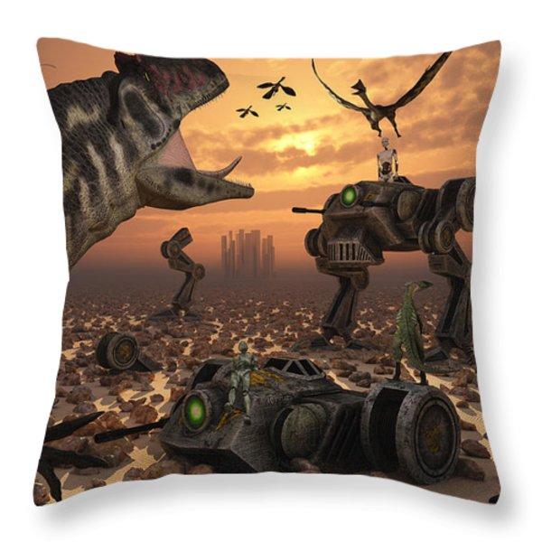 Dinosaurs And Robots Fight A War Throw Pillow by Mark Stevenson