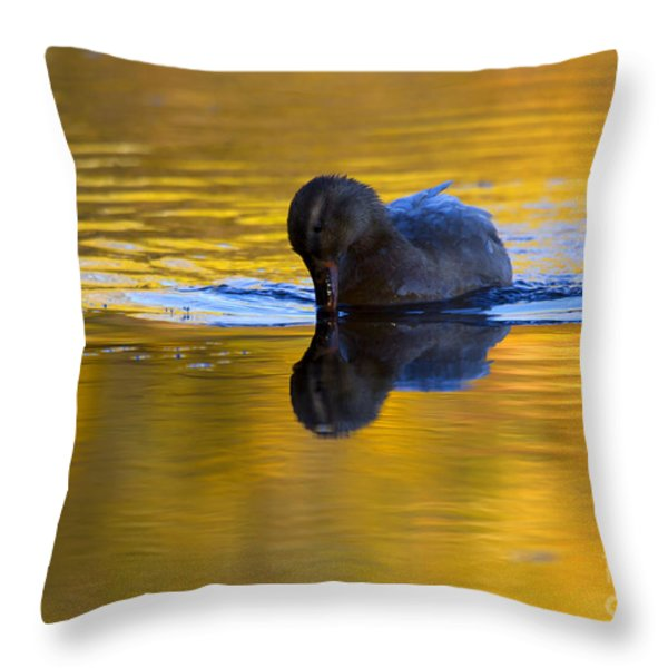 Dipping in Gold Throw Pillow by Mike  Dawson