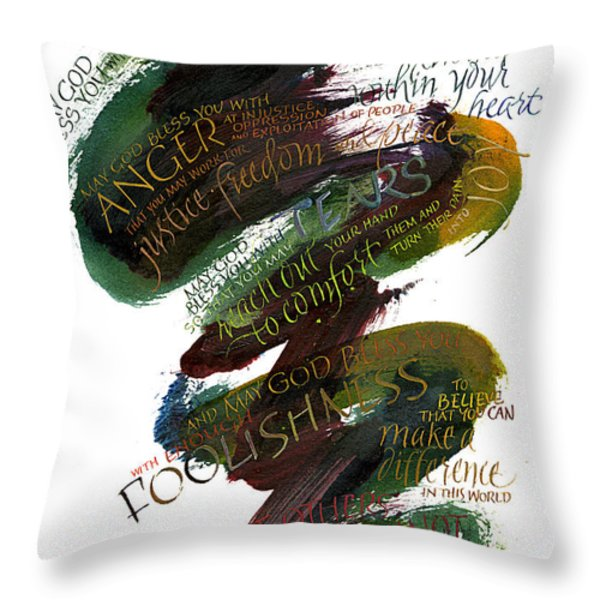 Discomfort Green Throw Pillow by Judy Dodds