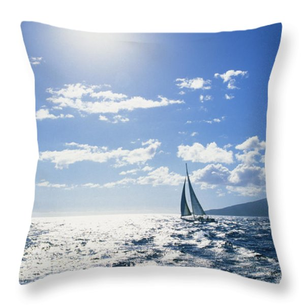 Distant View Of Sailboat Throw Pillow by Ron Dahlquist - Printscapes