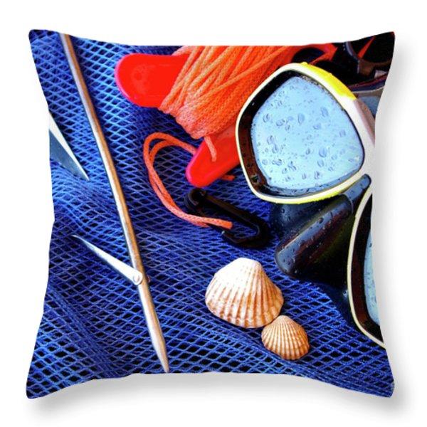 Dive Gear Throw Pillow by Carlos Caetano