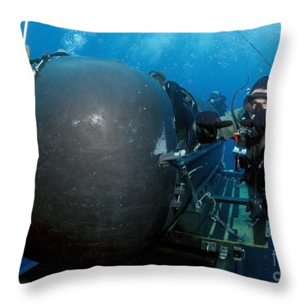 Divers Prepare To Launch A Seal Throw Pillow by Stocktrek Images