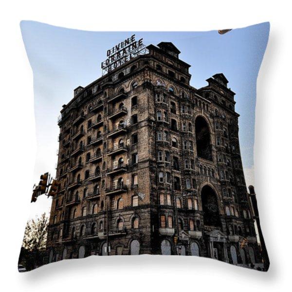 Divine Lorraine Hotel Throw Pillow by Bill Cannon