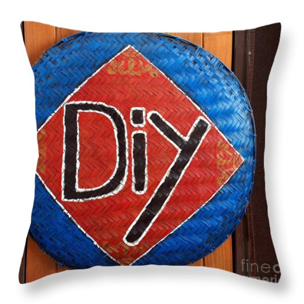 Do It Yourself Sign on Basket Throw Pillow by Yali Shi