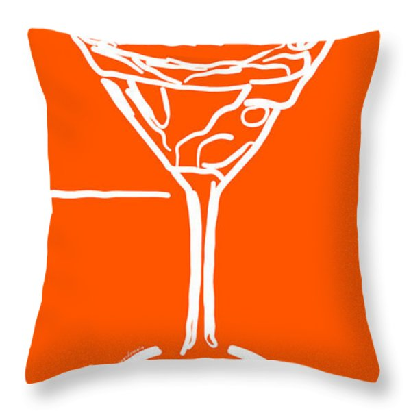 Do Not Panic - Drink Martini - Orange Throw Pillow by Wingsdomain Art and Photography