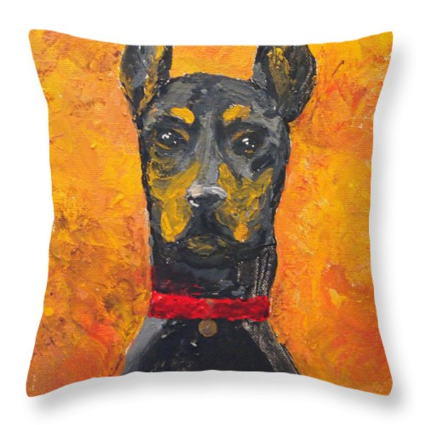 Dobie Girl Throw Pillow by Veronica Zimmerman