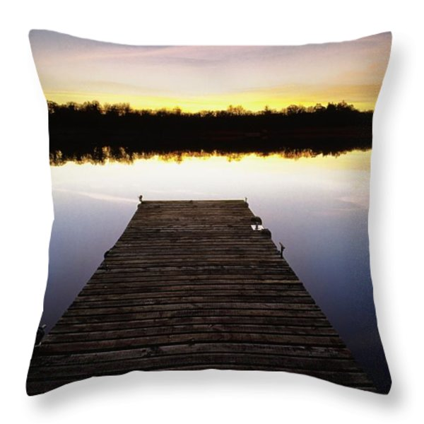 Dock At Sunset Throw Pillow by Gareth McCormack
