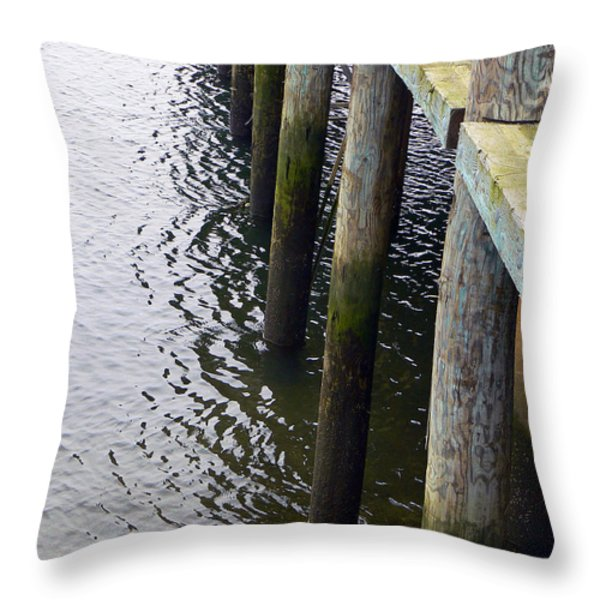 Dock Of The Bay  Throw Pillow by Pamela Patch