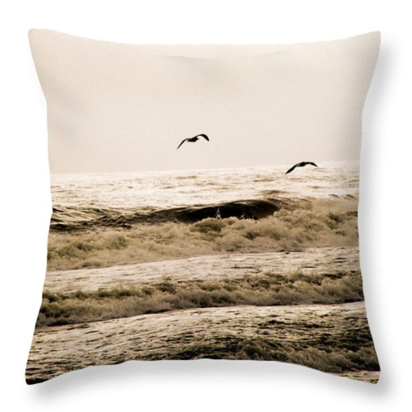 Dodging The Waves Throw Pillow by Trish Tritz