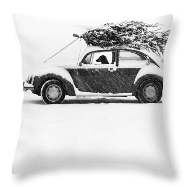 Dog in Car  Throw Pillow by Ulrike Welsch and Photo Researchers