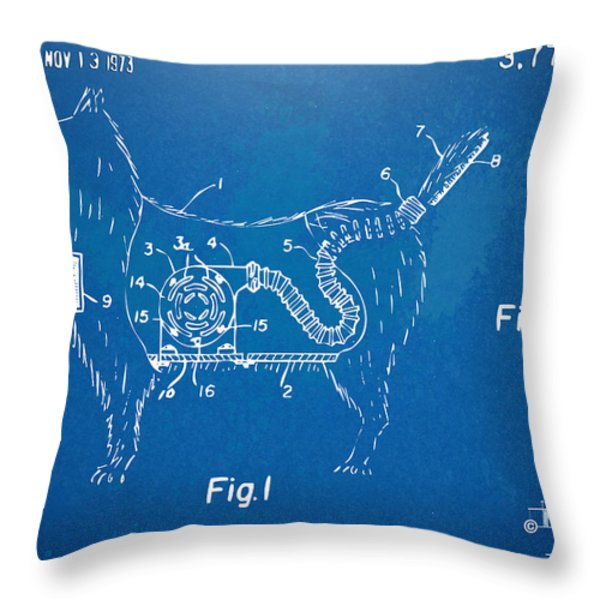 Doggie Vacuum Patent Artwork Throw Pillow by Nikki Marie Smith