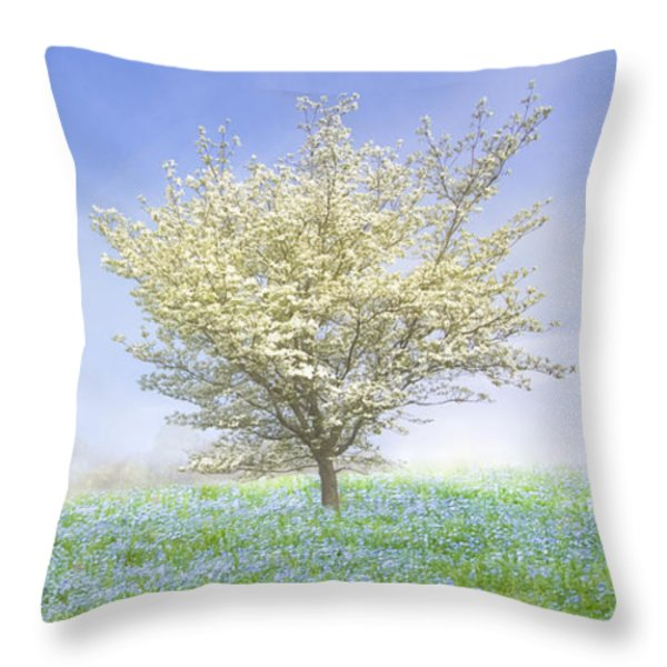 Dogwood In The Mist Throw Pillow by Debra and Dave Vanderlaan