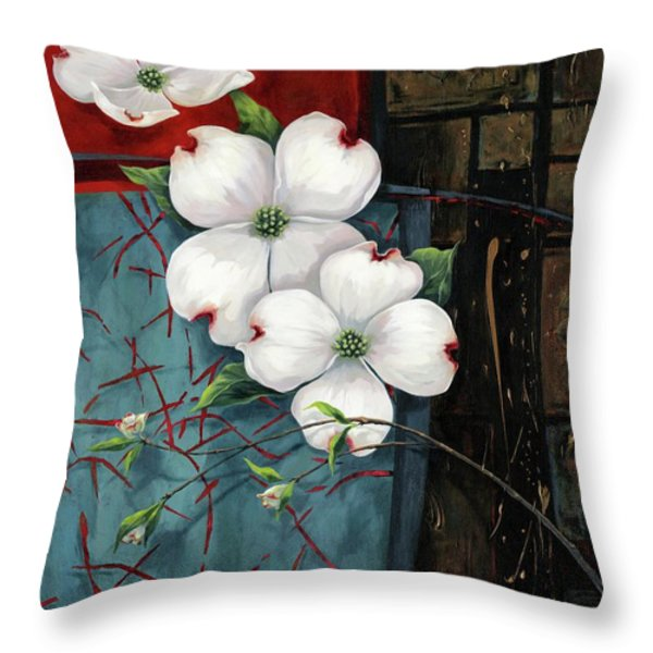 Dogwood Teal And Gold Throw Pillow by Lucy West