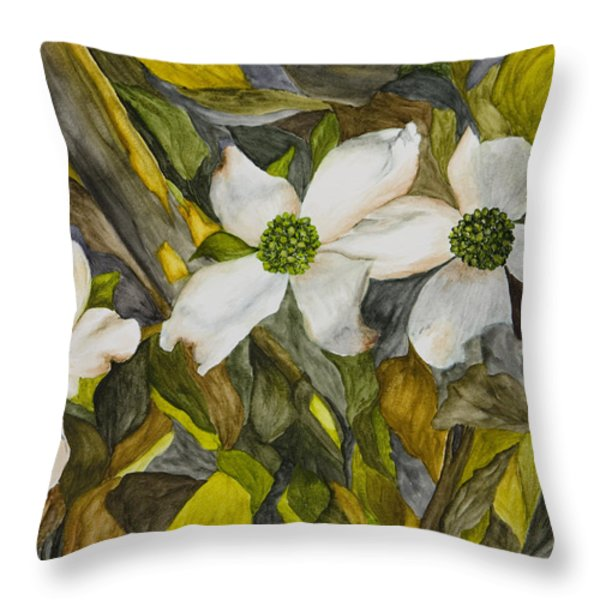 Dogwoods Throw Pillow by Mary Ann King