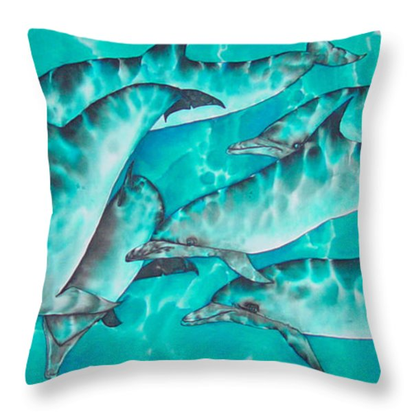 Dolphin Pod Throw Pillow by Daniel Jean-Baptiste