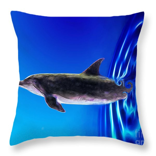 Dolphin Zoom Throw Pillow by Methune Hively