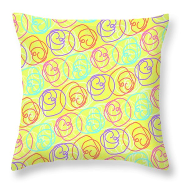 Doodles Throw Pillow by Louisa Knight
