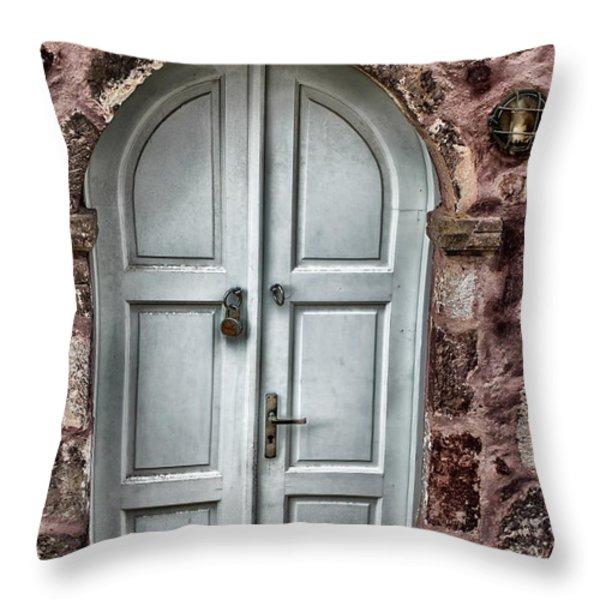 Door In Santorini Throw Pillow by Tom Prendergast