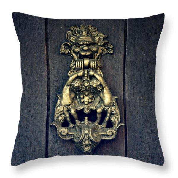 Door Knocker Throw Pillow by Joana Kruse