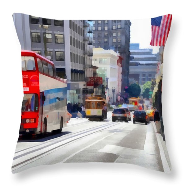 Double Decker Sightseeing Bus Along Powell Street In San Francisco California . 7d7269 Throw Pillow by Wingsdomain Art and Photography
