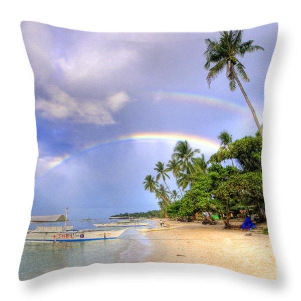 Double Rainbow At The Beach Throw Pillow by Yhun Suarez